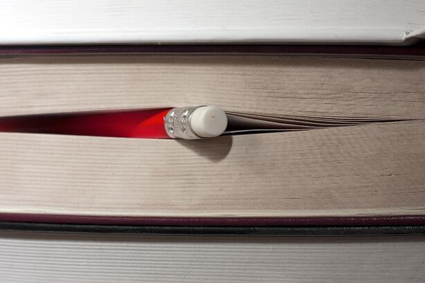 Pencil poking out from a book